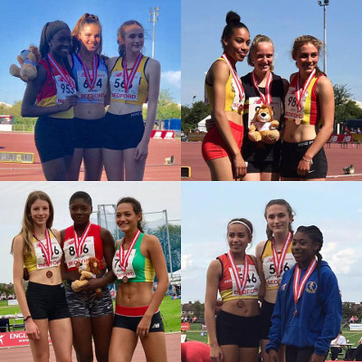 Abigail Pawlett (75m hurdles), Emily Misantoni (800 metres), Katie Waterworth (l