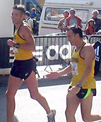 Sean and Tony cross the finish line after an impromptu dance display