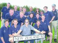 The New Zealand team find a familiar landmark in Stockport