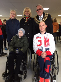 Adam Finch, sister Megan with paralympian Andy Small and mayor and mayoress of S