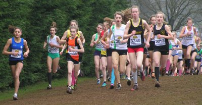 Katy Whiteoak and Harriet Knowles -Jones leadthe under-15 girls race