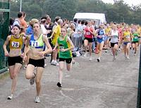 Leah Kay (left) leads the under-17 ladies race