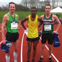 Stockport 10 men's winner Matt Barnes with 2nd Mohammed Abu-Rezeq (centre) and 3