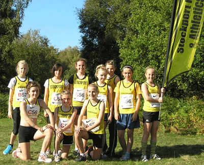 The Club's junior girls flying the flag for Stockport Harriers at Sutton Park