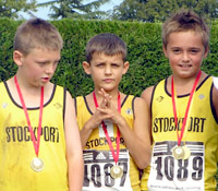 Team medallists at Uttoxeter; James       Bartley, Dan Lawton and Max Cole